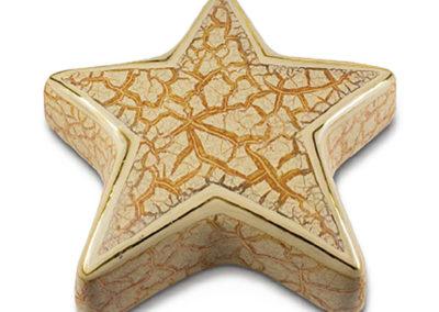 Urna a stella marina,  ceramica marmorizzata e oro