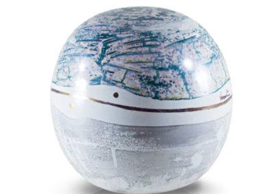 Urna in ceramica a sfera, vari colori e oro