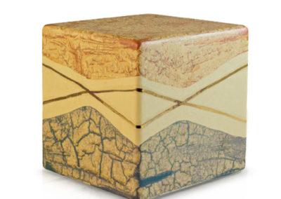 Urne in ceramica a forma di cubo marmorizzato,
